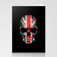 british flag Stationery Cards featuring British Flag Skull on Black by Jeff Bartels