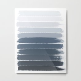 Tasli - ombre paint brushstrokes grey fade trendy dorm college home decor Metal Print