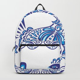 Abstract gzhel birds and ornament Backpack