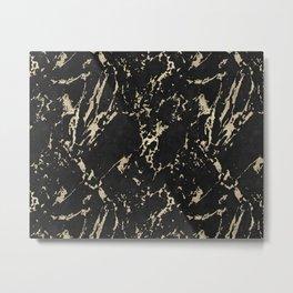 Coal Black Marble Gold Mine Metal Print