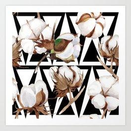 Cotton Flower Pattern 11 Art Print