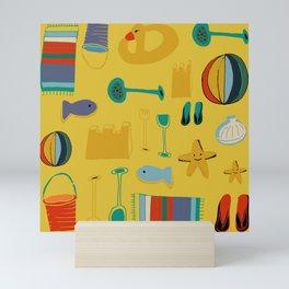 beach gear yellow Mini Art Print