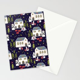 Christmas Cats Village Festive Seamless Vector Pattern, Drawn Present Boxes Stationery Cards