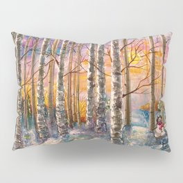 Winter Sunset Landscape Impressionistic Painting With Palette Knife Pillow Sham