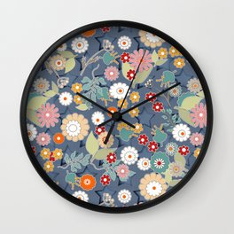 Colorful flowers on a denim background. Wall Clock
