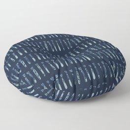 Indigo Tie Dye Stripes Shapes Drawn Grunge Floor Pillow