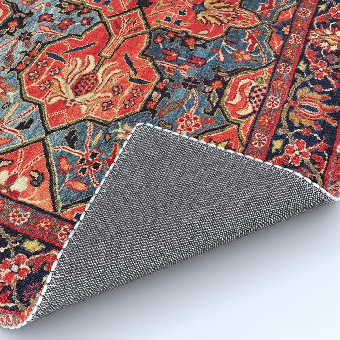 Kashan Poshti Central Persian Rug Print Rug