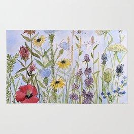 Wildflower Garden Watercolor Flower Illustration Rug