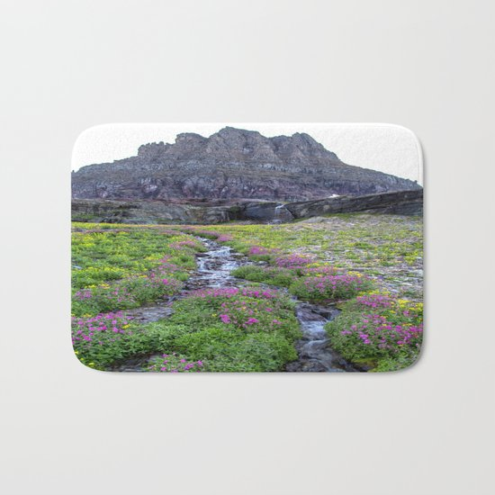 Mountain Waterfall Flowers Bath Mat