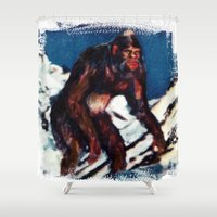 bigfoot Shower Curtains featuring Bigfoot is Real by Adam Metzner