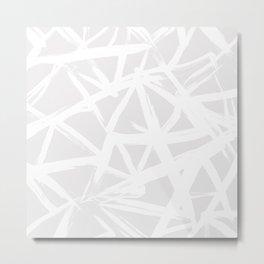 Modern white abstract geometric brushstrokes light grey Metal Print