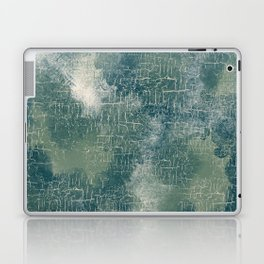 Grunge Abstract Art in Teal, Olive Green and Cream Laptop & iPad Skin