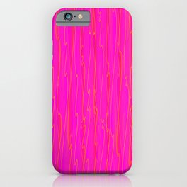 Vertical curved orange lines on a pink tree. iPhone Case