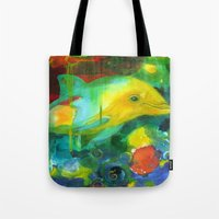 dolphin Tote Bags featuring Dolphin by Silke Powers