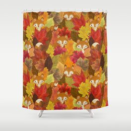 Foxes Hiding in the Fall Leaves - Autumn Fox Shower Curtain