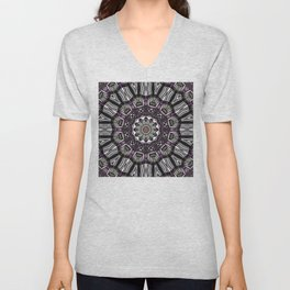 Mandala in black and white with hint of purple and green Unisex V-Neck