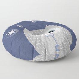 Christmas Owl Blue Marble Floor Pillow