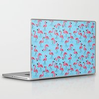 flamingos Laptop & iPad Skins featuring Flamingos by WanderingBert / David Creighton-Pester
