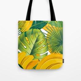 Tropical leaves decor bananas print forest interior palm Tote Bag