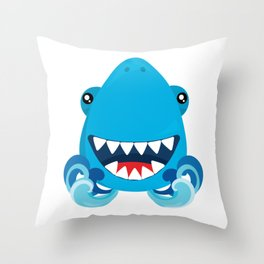 Friendly Sharks Smiling Shark Throw Pillow