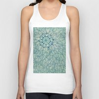 emerald Tank Tops featuring Emerald Green, Navy & Cream Floral & Leaf doodle by micklyn
