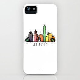 Austin Texas Colorful Silhouette iPhone Case