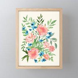 Watercolor Peonies Framed Mini Art Print