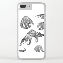 Animal Pattern, Pangolin, Manis, Monochrome Art, Black and white, Animals lovers gifts, Vets and pet Clear iPhone Case