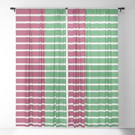 Christmas Stripes Red Green Sheer Curtain