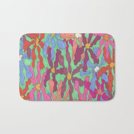 Colorful Retro Floral Print Bath Mat