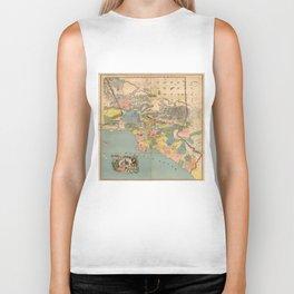 Vintage Map of Los Angeles County CA (1888) Biker Tank