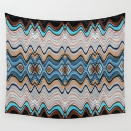 Dark To Light Black Pink Blue Waves Wall Tapestry