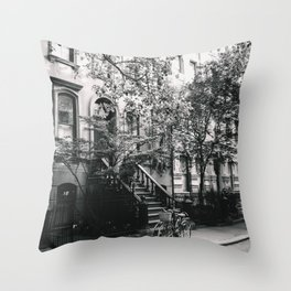New York City - West Village Street and Bicycles Throw Pillow