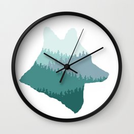 Wolf Mountains (Blue) Wall Clock