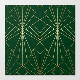 Art Deco in Gold & Green - Large Scale Canvas Print