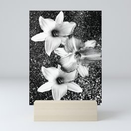 White Lilies on Black Glitter #1 #floral #decor #art #society6 Mini Art Print