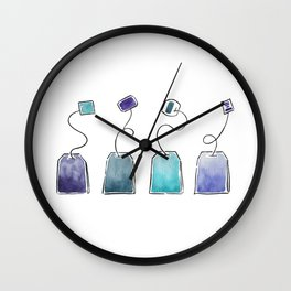 Blue tea bags Wall Clock