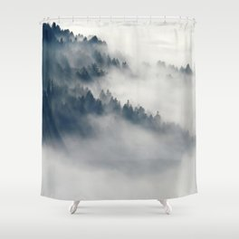 Mountain Fog and Forest Photo Shower Curtain
