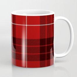Dark Red Tartan with Black and White Stripes Coffee Mug