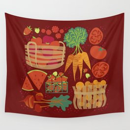 Farmers Market Veggies on Red_Robin Pickens Wall Tapestry
