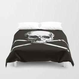 Skull and Crossbones | Jolly Roger | Pirate Flag | Black and White | Duvet Cover