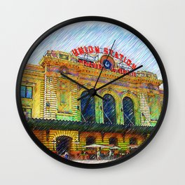 Denver Union Station Sketched Wall Clock