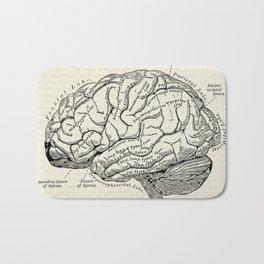 Vintage medical illustration of the human brain Bath Mat