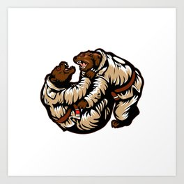 Two bears fighting. Karate Bear Art Print