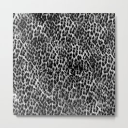 Cheetah Fur Texture - Black and White Metal Print