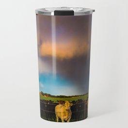 Bovine Shine - Cattle Gather on Stormy Day in Kansas Travel Mug