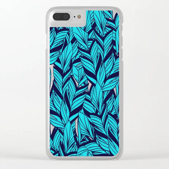 Blue Banana Leaf Pattern Clear iPhone Case