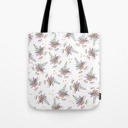 Modern cute whimsical floral unicorn pattern illustration gold glitter polka dots Tote Bag