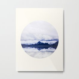 Mid Century Modern Round Circle Photo Graphic Design Navy Blue Arctic Mountains Metal Print