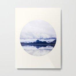 Mid Century Modern Round Circle Photo Graphic Design Navy Blue Arctic Mountains Metal Print